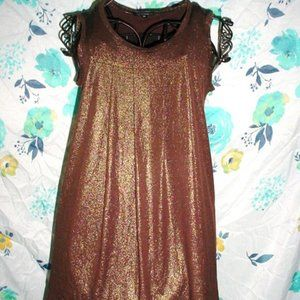 RAMPAGE Gold Shimmer Brown Stretch Blouse M